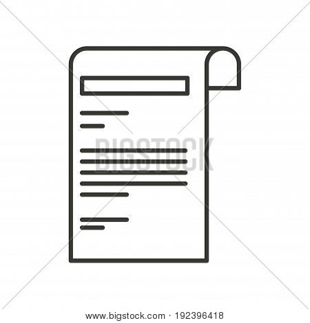 monochrome silhouette of sheet with text vector illustration