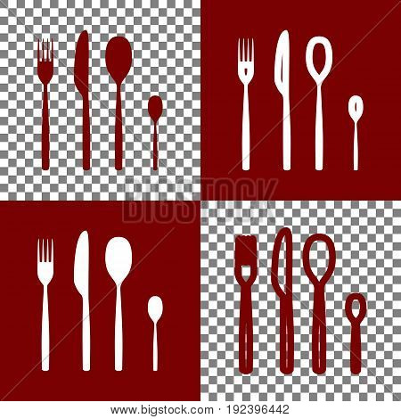 Fork spoon and knife sign. Vector. Bordo and white icons and line icons on chess board with transparent background.