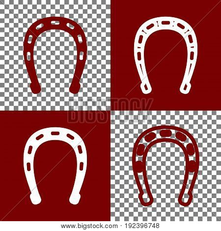Horseshoe sign illustration. Vector. Bordo and white icons and line icons on chess board with transparent background.