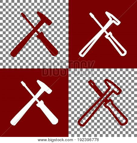 Tools sign illustration. Vector. Bordo and white icons and line icons on chess board with transparent background.