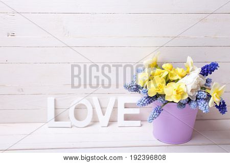 Muscaries and yellow narcissus flowers in violet bucket and word love on wooden background. Selective focus. Place for text.