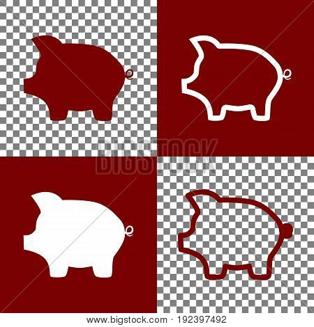Pig money bank sign. Vector. Bordo and white icons and line icons on chess board with transparent background.