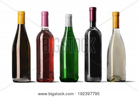 Isolated row wine bottles bar red group