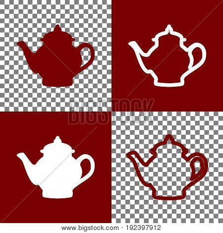 Tea maker sign. Vector. Bordo and white icons and line icons on chess board with transparent background.