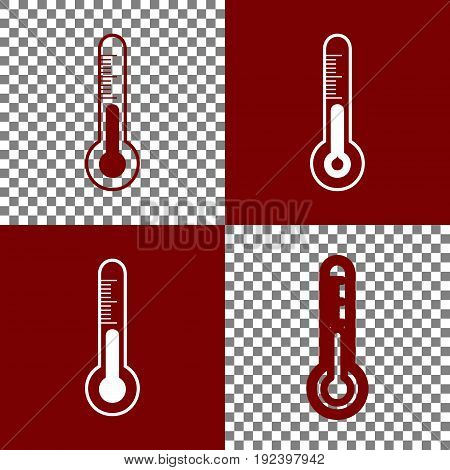 Meteo diagnostic technology thermometer sign. Vector. Bordo and white icons and line icons on chess board with transparent background.