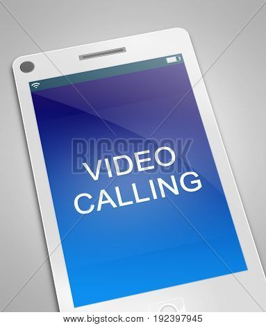 3d Illustration depicting a phone with a video call concept.