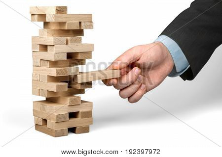Business wooden man tower businessman blocks activity