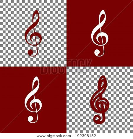 Music violin clef sign. G-clef. Treble clef. Vector. Bordo and white icons and line icons on chess board with transparent background.