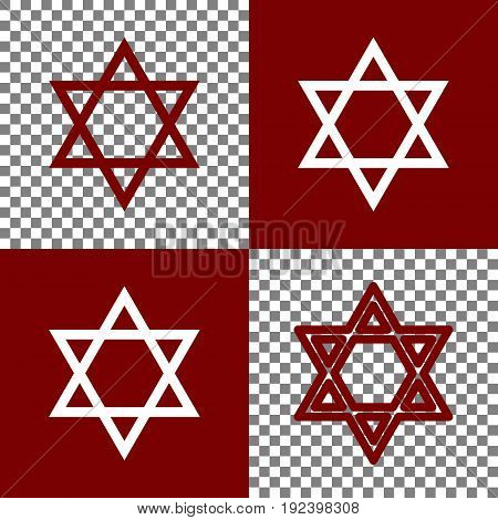 Shield Magen David Star. Symbol of Israel. Vector. Bordo and white icons and line icons on chess board with transparent background.