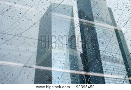 Raindrops on the train window in Moscow.