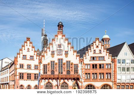 View on the city hall facade on the Roemer square at the old town in Frankfurt city
