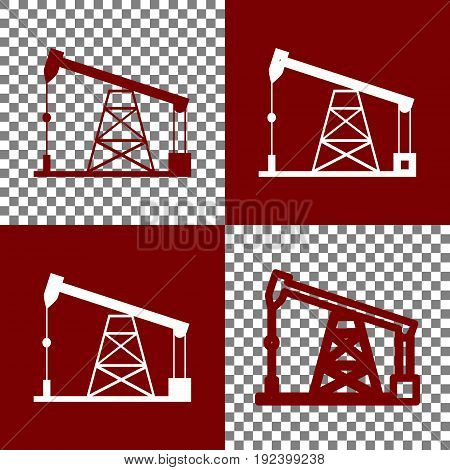 Oil drilling rig sign. Vector. Bordo and white icons and line icons on chess board with transparent background.