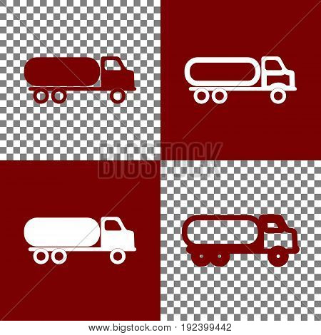 Car transports sign. Vector. Bordo and white icons and line icons on chess board with transparent background.