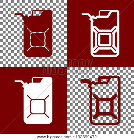 Jerrycan oil sign. Jerry can oil sign. Vector. Bordo and white icons and line icons on chess board with transparent background.