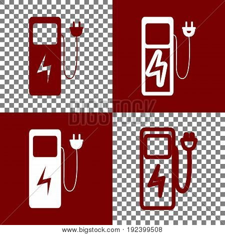 Electric car charging station sign. Vector. Bordo and white icons and line icons on chess board with transparent background.