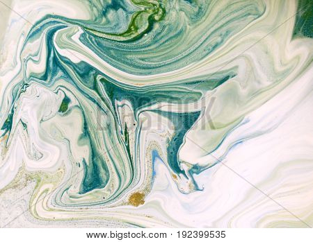 Marbled blue, green and golden abstract background. Liquid marble pattern.