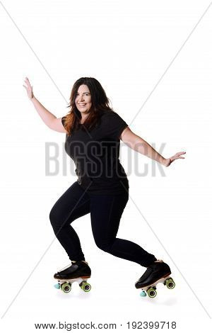 woman having fun on quad roller skates