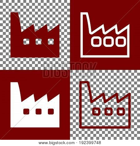 Factory sign illustration. Vector. Bordo and white icons and line icons on chess board with transparent background.
