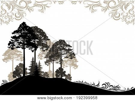 Forest Landscape, Coniferous and Deciduous Trees Brown and Black Silhouettes on White Background with Abstract Vintage Floral Pattern. Vector