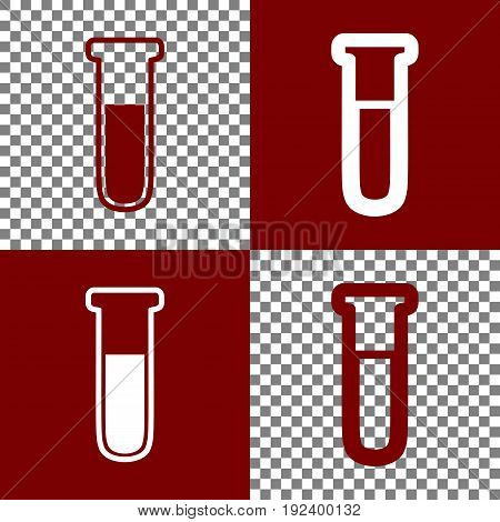 Medical Tube icon. Laboratory glass sign. Vector. Bordo and white icons and line icons on chess board with transparent background.