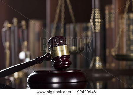 Law and justice theme. Court library. Gavel and books.