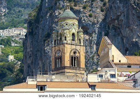 bell tower of Amalfi Cathedral, dedicated to the Apostle Saint Andrew, Roman Catholic cathedral in the Piazza del Duomo, Amalfi, Italy