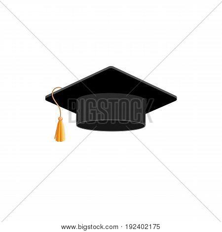 Graduation Hat. Isolated On White. Vector Illustration. Flat Style. Isolated.