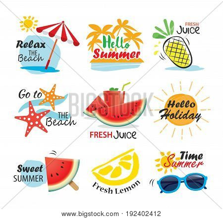 Summer label banner tag and elements background set. Vector illustrations for seasonal holiday.