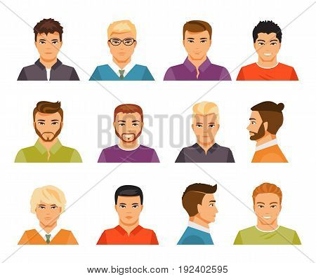 Set of male portraits with different hairstyles. Avatars. Vector illustration