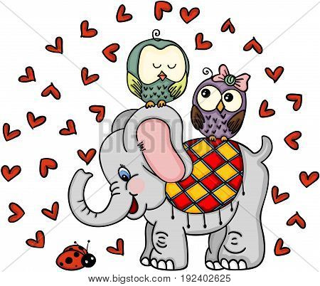 Scalable vectorial image representing a cute elephant with couple owls and ladybug, isolated on white.