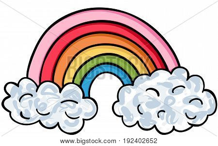 Scalable vectorial image representing a shaped rainbow icon, isolated on white.