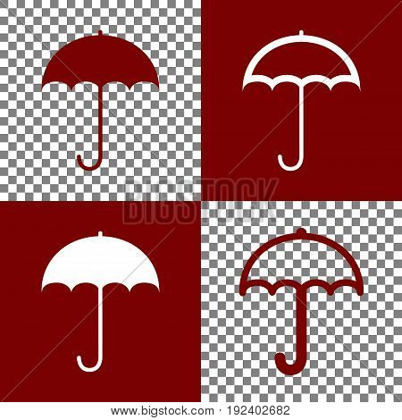 Umbrella sign icon. Rain protection symbol. Flat design style. Vector. Bordo and white icons and line icons on chess board with transparent background.