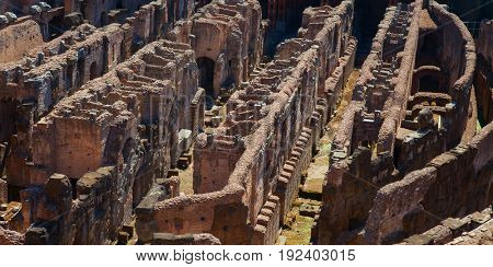 ROME - August 01: Ruins of the ancient Colloseum on August 01, 2014 in Rome, Italy