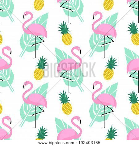 Tropical trendy seamless pattern with pink flamingos, pineapples and green palm leaves on white background. Exotic Hawaii art background. Design for fabric, wallpaper, textile and decor.