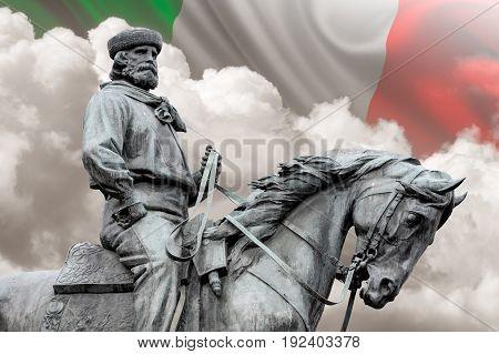 Giuseppe Garibaldi the Hero of Two Worlds italian flag on background