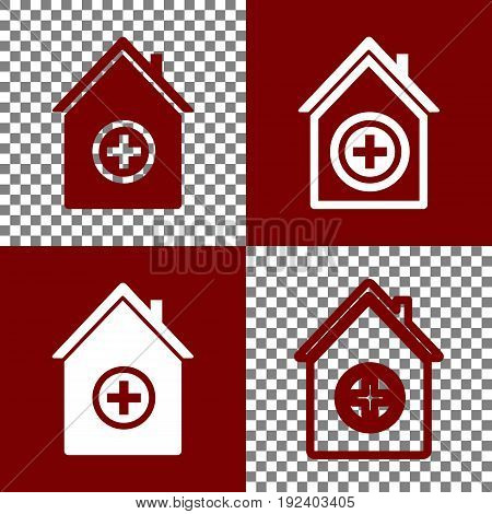 Hospital sign illustration. Vector. Bordo and white icons and line icons on chess board with transparent background.