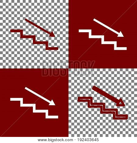 Stair down with arrow. Vector. Bordo and white icons and line icons on chess board with transparent background.