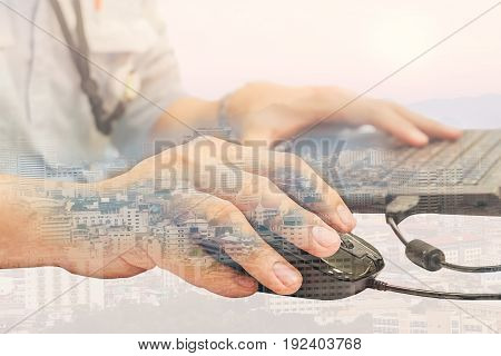 Person using smart device working on internet or business lifestyle