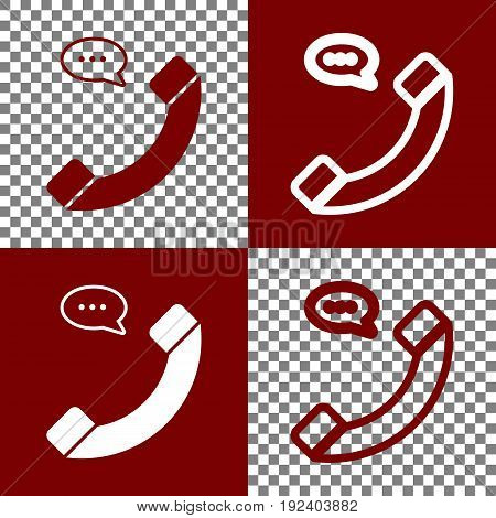 Phone with speech bubble sign. Vector. Bordo and white icons and line icons on chess board with transparent background.