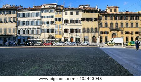 Medieval Houses On Piazza Dei Pitti In Florence