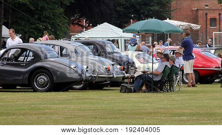Sandhurst, Uk - June 18 2017: Motor Enthusiasts And Owners With A Selection Of Vintage Jaguar Carsja