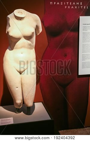 Exhibition Of Praxiteles Statues In Museum