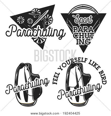 Vintage parachuting emblems. Air shipping concept. Vector illustration, EPS 10