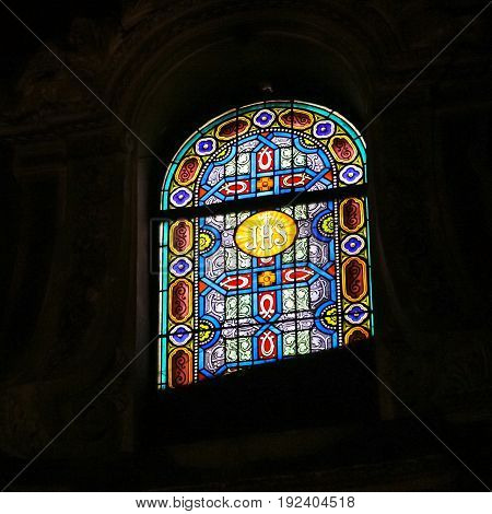Stained-glass Window In Church In Nice City
