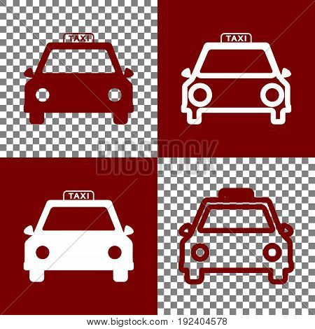 Taxi sign illustration. Vector. Bordo and white icons and line icons on chess board with transparent background.
