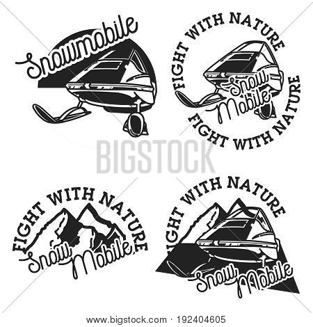 Vintage snowmobile emblems. Extreme active leisure label.
