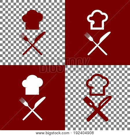 Chef with knife and fork sign. Vector. Bordo and white icons and line icons on chess board with transparent background.