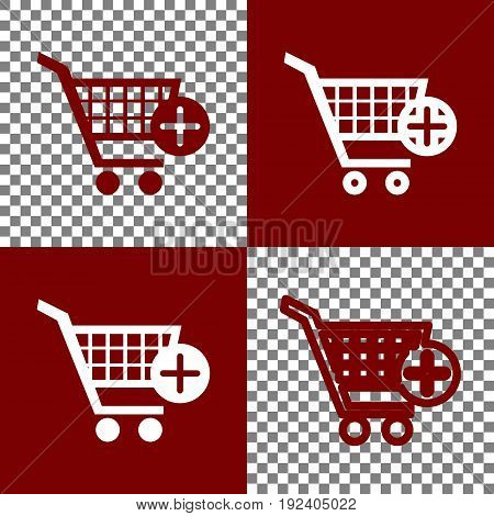 Shopping Cart with add Mark sign. Vector. Bordo and white icons and line icons on chess board with transparent background.