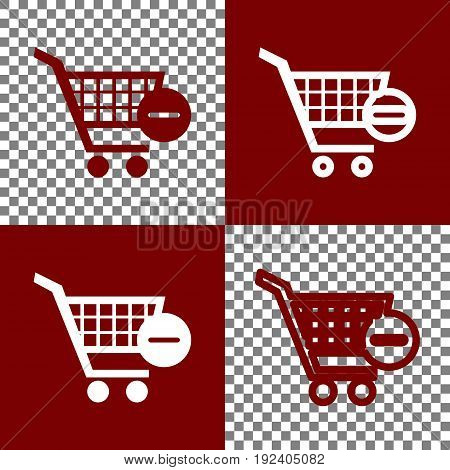 Vector Shopping Cart with Remove sign. Vector. Bordo and white icons and line icons on chess board with transparent background.