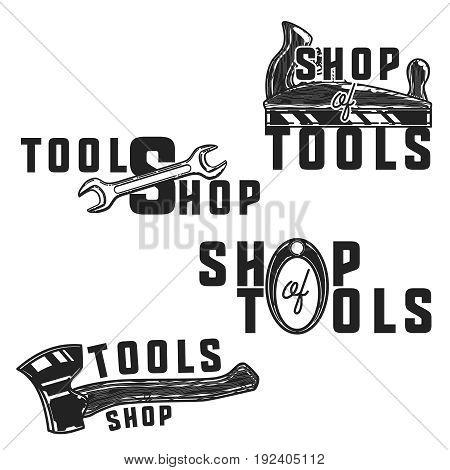 Vintage tools shop emblems. Vector illustration, EPS 10